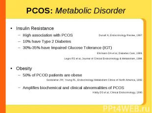 PCOS: Metabolic Disorder Insulin ResistanceHigh association with PCOS10% have Ty