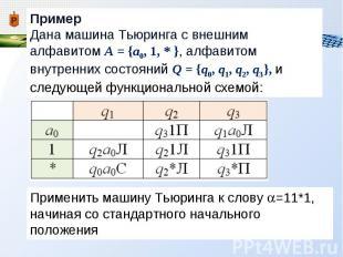 Примеры алгоритмов машины тьюринга