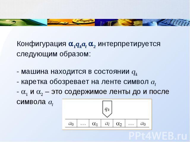 Конфигурация 1qkal 2 интерпретируется следующим образом: - машина находится в состоянии qk - каретка обозревает на ленте символ al - 1 и 2 – это содержимое ленты до и после символа al