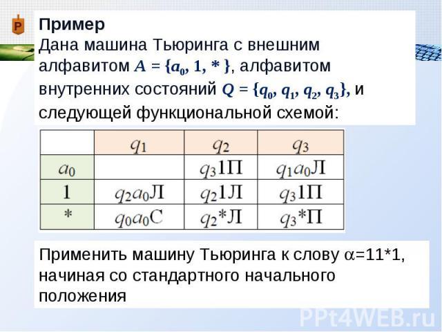 Пример Дана машина Тьюринга с внешним алфавитом А = {a0, 1, * }, алфавитом внутренних состояний Q = {q0, q1, q2, q3}, и следующей функциональной схемой: Применить машину Тьюринга к слову =11*1, начиная со стандартного начального положения