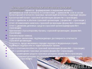 Цель аудита бухгалтерской отчетности страховой организации является формирование