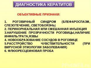 ДИАГНОСТИКА КЕРАТИТОВ ОБЪЕКТИВНЫЕ ПРИЗНАКИ: 1. РОГОВИЧНЫЙ СИНДРОМ (БЛЕФАРОСПАЗМ,