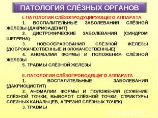 ПАТОЛОГИЯ СЛЁЗНЫХ ОРГАНОВ I. ПАТОЛОГИЯ СЛЁЗОПРОДУЦИРУЮЩЕГО АППАРАТА 1. ВОСПАЛИТЕ