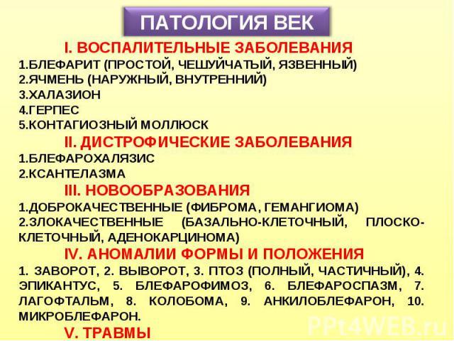 ПАТОЛОГИЯ ВЕК I. ВОСПАЛИТЕЛЬНЫЕ ЗАБОЛЕВАНИЯ БЛЕФАРИТ (ПРОСТОЙ, ЧЕШУЙЧАТЫЙ, ЯЗВЕННЫЙ) ЯЧМЕНЬ (НАРУЖНЫЙ, ВНУТРЕННИЙ) ХАЛАЗИОН ГЕРПЕС КОНТАГИОЗНЫЙ МОЛЛЮСК II. ДИСТРОФИЧЕСКИЕ ЗАБОЛЕВАНИЯ БЛЕФАРОХАЛЯЗИС КСАНТЕЛАЗМА III. НОВООБРАЗОВАНИЯ ДОБРОКАЧЕСТВЕННЫЕ …
