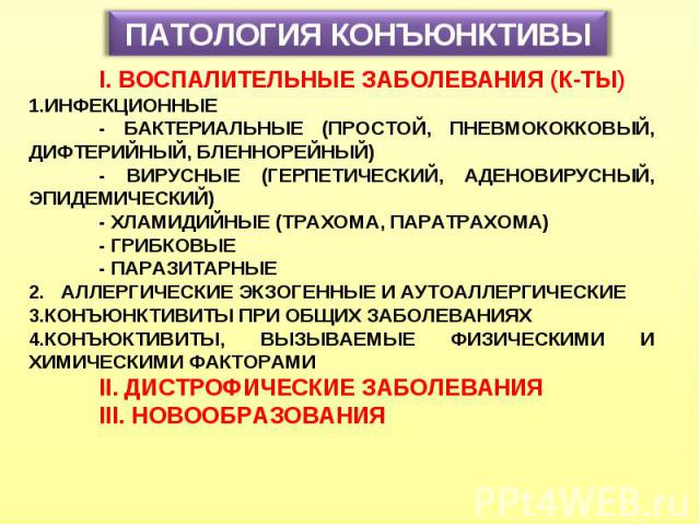 ПАТОЛОГИЯ КОНЪЮНКТИВЫ I. ВОСПАЛИТЕЛЬНЫЕ ЗАБОЛЕВАНИЯ (К-ТЫ) ИНФЕКЦИОННЫЕ - БАКТЕРИАЛЬНЫЕ (ПРОСТОЙ, ПНЕВМОКОККОВЫЙ, ДИФТЕРИЙНЫЙ, БЛЕННОРЕЙНЫЙ) - ВИРУСНЫЕ (ГЕРПЕТИЧЕСКИЙ, АДЕНОВИРУСНЫЙ, ЭПИДЕМИЧЕСКИЙ) - ХЛАМИДИЙНЫЕ (ТРАХОМА, ПАРАТРАХОМА) - ГРИБКОВЫЕ - …