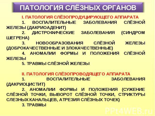 ПАТОЛОГИЯ СЛЁЗНЫХ ОРГАНОВ I. ПАТОЛОГИЯ СЛЁЗОПРОДУЦИРУЮЩЕГО АППАРАТА 1. ВОСПАЛИТЕЛЬНЫЕ ЗАБОЛЕВАНИЯ СЛЁЗНОЙ ЖЕЛЕЗЫ (ДАКРИОАДЕНИТ) 2. ДИСТРОФИЧЕСКИЕ ЗАБОЛЕВАНИЯ (СИНДРОМ ШЕГРЕНА) 3. НОВООБРАЗОВАНИЯ СЛЁЗНОЙ ЖЕЛЕЗЫ (ДОБРОКАЧЕСТВЕННЫЕ И ЗЛОКАЧЕСТВЕННЫЕ) 4…