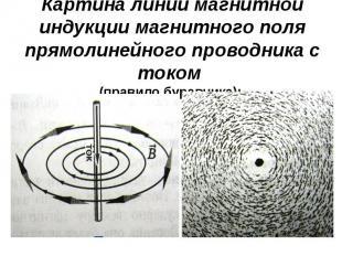 Картина линий магнитной индукции магнитного поля прямолинейного проводника с ток