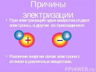 Причины электризации При электризации одни вещества отдают электроны, а другие и
