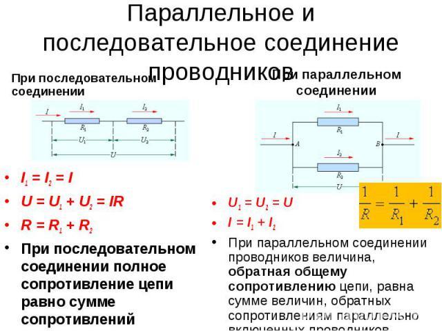 Параллельное и последовательное соединение проводников I1 = I2 = I U = U1 + U2 = IR R = R1 + R2 При последовательном соединении полное сопротивление цепи равно сумме сопротивлений отдельных проводников U1 = U2 = U I = I1 + I2 При параллельном соедин…