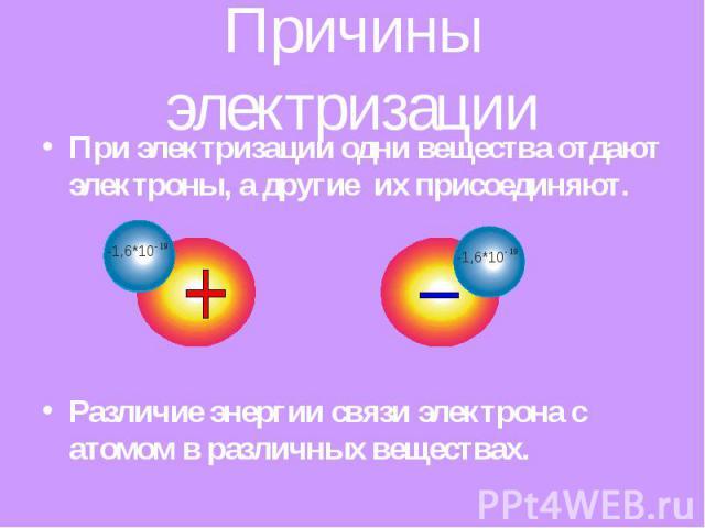 Причины электризации При электризации одни вещества отдают электроны, а другие их присоединяют. Различие энергии связи электрона с атомом в различных веществах.