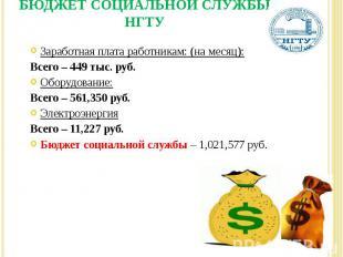Заработная плата работникам: (на месяц): Всего – 449 тыс. руб. Оборудование: Все