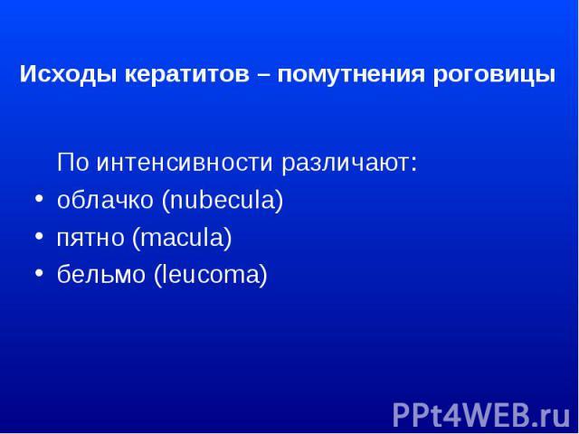 Исходы кератитов – помутнения роговицы По интенсивности различают: облачко (nubecula) пятно (macula) бельмо (leucoma)