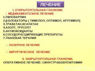 ЛЕЧЕНИЕ I. ОТКРЫТОУГОЛЬНАЯ ГЛАУКОМА - МЕДИКАМЕНТОЗНОЕ ЛЕЧЕНИЕ ПИЛОКАРПИН β-БЛОКА