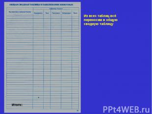 Из всех таблиц всё переносим в общую сводную таблицу Итого: