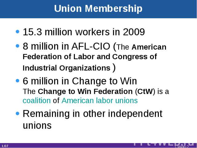 Union Membership 15.3 million workers in 20098 million in AFL-CIO (The American Federation of Labor and Congress of Industrial Organizations )6 million in Change to Win The Change to Win Federation (CtW) is a coalition of American labor unions Remai…