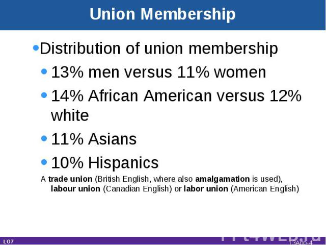 Distribution of union membership13% men versus 11% women14% African American versus 12% white11% Asians10% HispanicsA trade union (British English, where also amalgamation is used), labour union (Canadian English) or labor union (American English) L…