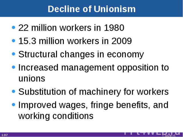 Decline of Unionism 22 million workers in 198015.3 million workers in 2009Structural changes in economyIncreased management opposition to unionsSubstitution of machinery for workersImproved wages, fringe benefits, and working conditions LO7 13App-*
