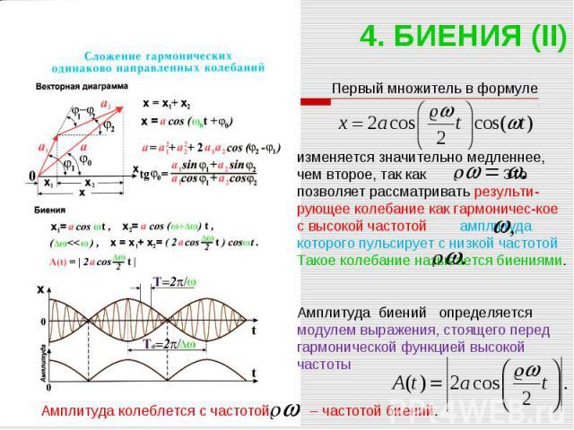 4. БИЕНИЯ (II) Первый множитель в формуле изменяется значительно медленнее, чем второе, так как Это позволяет рассматривать результи-рующее колебание как гармоничес-кое с высокой частотой амплитуда которого пульсирует с низкой частотой Такое колебан…