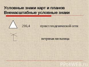 Условные знаки карт и планов Внемасштабные условные знаки 216,4 пункт геодезичес
