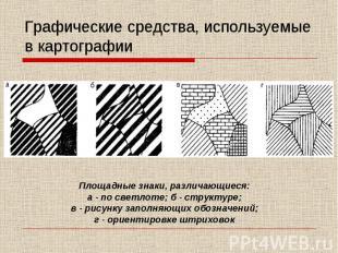 Графические средства, используемые в картографии Площадные знаки, различающиеся: