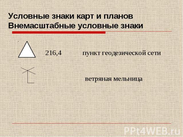 Условные знаки карт и планов Внемасштабные условные знаки 216,4 пункт геодезической сети ветряная мельница