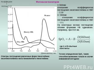 Фотооксигемометрия Коэффициент поглощения Длина волны, нм λ=660нм: отношение коэ