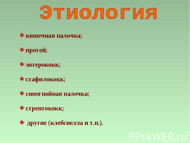 кишечная палочка; протей; энтерококк; стафилококк; синегнойная палочка; стрептококк; другие (клебсиелла и т.п.).