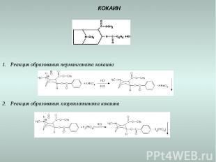 КОКАИН Реакция образования перманганата кокаина Реакция образования хлороплатина
