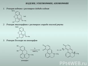 КОДЕИН, ЭТИЛМОРФИН, АПОМОРФИН Реакция кодеина с раствором йодида кадмия Реакция
