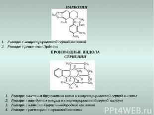 НАРКОТИН Реакция с концентрированной серной кислотой Реакция с реактивом Эрдмана