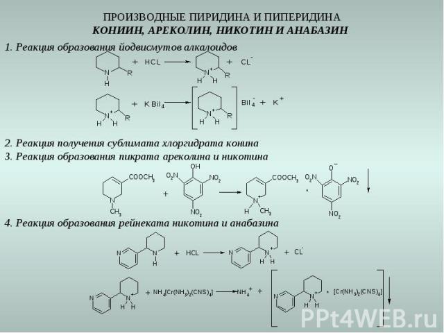 ПРОИЗВОДНЫЕ ПИРИДИНА И ПИПЕРИДИНА КОНИИН, АРЕКОЛИН, НИКОТИН И АНАБАЗИН 1. Реакция образования йодвисмутов алкалоидов 2. Реакция получения сублимата хлоргидрата конина 3. Реакция образования пикрата ареколина и никотина 4. Реакция образования рейнека…