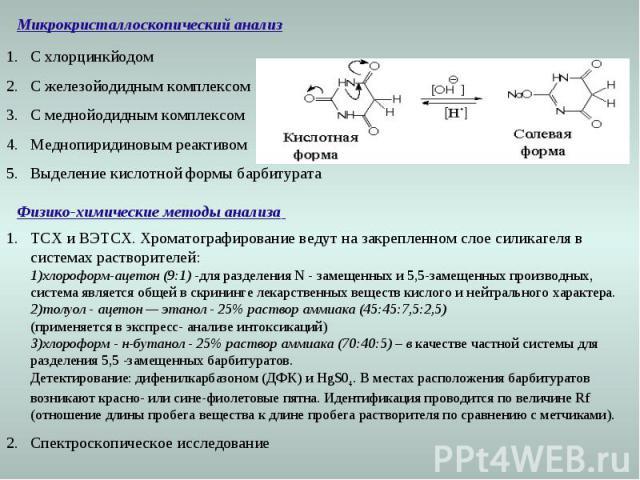 Микрокристаллоскопический анализ С хлорцинкйодом С железойодидным комплексом С меднойодидным комплексом Меднопиридиновым реактивом Выделение кислотной формы барбитурата Физико-химические методы анализа ТСХ и ВЭТСХ. Хроматографирование ведут на закре…