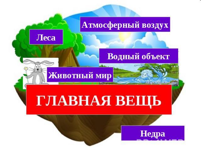 ЗЕМЕЛЬНЫЙ УЧАСТОК (ЗЕМЛЯ) Леса Атмосферный воздух Животный мир Водный объект Недра ГЛАВНАЯ ВЕЩЬ