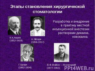 В.Ф.Войно – Ясенецкий (1877-1961) В.К.Анреп (1852-1919) А.Эйгорн (1856-1917) Г.Б
