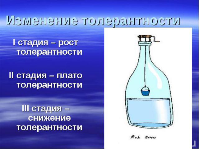Изменение толерантности I стадия – рост толерантности II стадия – плато толерантности III стадия – снижение толерантности