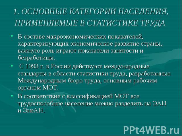 1. ОСНОВНЫЕ КАТЕГОРИИ НАСЕЛЕНИЯ, ПРИМЕНЯЕМЫЕ В СТАТИСТИКЕ ТРУДА В составе макроэкономических показателей, характеризующих экономическое развитие страны, важную роль играют показатели занятости и безработицы. С 1993 г. в России действуют международны…