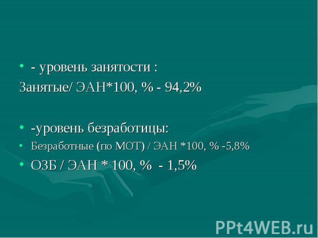 - уровень занятости : Занятые/ ЭАН*100, % - 94,2% -уровень безработицы: Безработные (по МОТ) / ЭАН *100, % -5,8% ОЗБ / ЭАН * 100, % - 1,5%