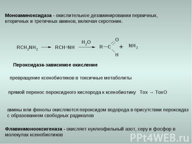 Пероксидаза-зависимое окисление превращение ксенобиотиков в токсичные метаболиты прямой перенос пероксидного кислорода к ксенобиотику Тох → ТохО амины или фенолы окисляются пероксидом водорода в присутствии пероксидаз с образованием свободных радика…