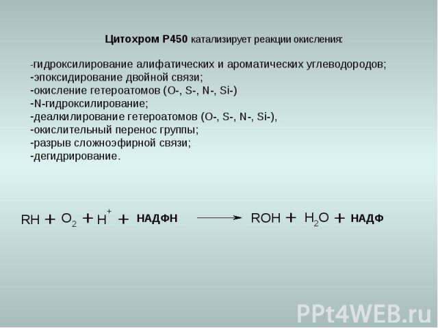 Цитохром Р450 катализирует реакции окисления: -гидроксилирование алифатических и ароматических углеводородов; эпоксидирование двойной связи; окисление гетероатомов (О-, S-, N-, Si-) N-гидроксилирование; деалкилирование гетероатомов (О-, S-, N-, Si-)…