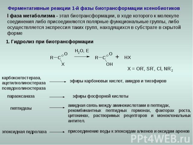 Ферментативные реакции 1-й фазы биотрансформации ксенобиотиков карбоксилэстераза, ацетилхолинэстераза псевдохолинэстераза эпоксидная гидролаза 1. Гидролиз при биотрансформации X = OR', SR', Cl, NR'2 параоксаназа амидная связь между аминокислотами в …
