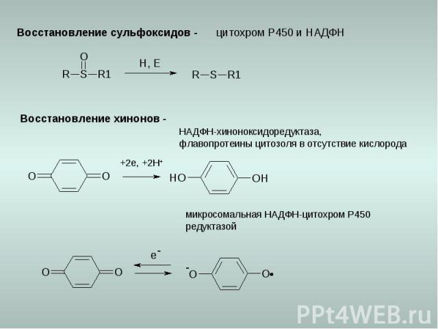 Восстановление сульфоксидов - цитохром Р450 и НАДФН Восстановление хинонов - +2e, +2H+ НАДФН-хиноноксидоредуктаза, флавопротеины цитозоля в отсутствие кислорода микросомальная НАДФН-цитохром Р450 редуктазой