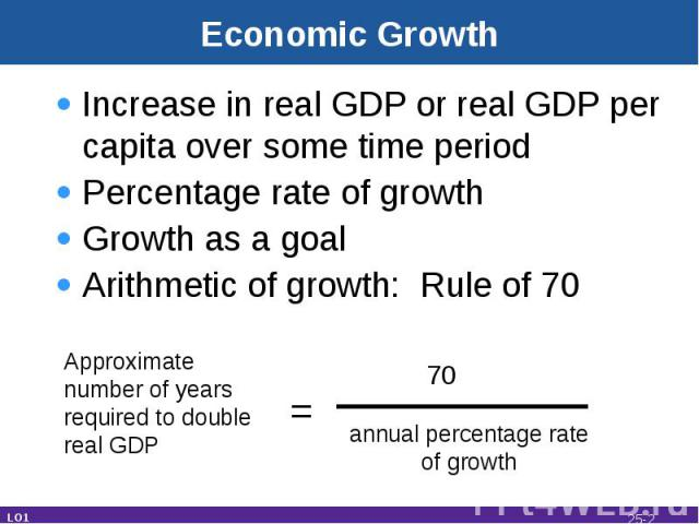 Economic Growth Increase in real GDP or real GDP per capita over some time periodPercentage rate of growthGrowth as a goalArithmetic of growth: Rule of 70 Approximatenumber of yearsrequired to doublereal GDP = 70 annual percentage rateof growth LO1 25-*