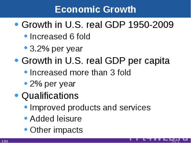 Economic Growth Growth in U.S. real GDP 1950-2009Increased 6 fold 3.2% per year Growth in U.S. real GDP per capitaIncreased more than 3 fold2% per yearQualifications Improved products and servicesAdded leisureOther impacts LO1 25-*