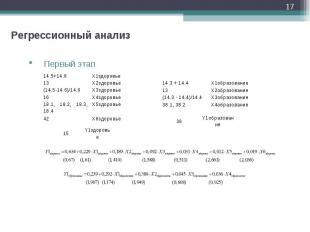* Регрессионный анализ Первый этап 14.5+14.6 X1здоровье 13 X2здоровье (14.5-14.6