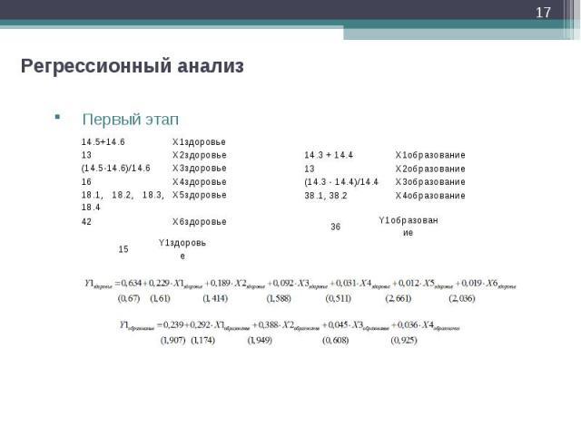* Регрессионный анализ Первый этап 14.5+14.6 X1здоровье 13 X2здоровье (14.5-14.6)/14.6 X3здоровье 16 X4здоровье 18.1, 18.2, 18.3, 18.4 X5здоровье 42 X6здоровье 15 Y1здоровье 14.3 + 14.4 X1образование 13 X2образование (14.3 - 14.4)/14.4 X3образование…