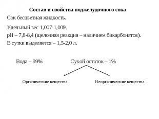 Состав и свойства поджелудочного сока Сок бесцветная жидкость. Удельный вес 1,00