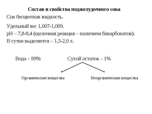 Состав и свойства поджелудочного сока Сок бесцветная жидкость. Удельный вес 1,007-1,009. рН – 7,8-8,4 (щелочная реакция – наличием бикарбонатов). В сутки выделяется – 1,5-2,0 л. Вода – 99% Сухой остаток – 1% Неорганические вещества Органические вещества
