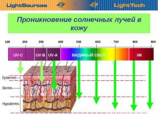 100 200 300 400 500 600 700 800 900 UV-C UV-B UV-A ВИДИМЫЙ СВЕТ ИК Проникновение