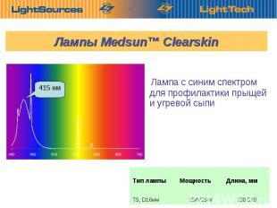 Лампы Medsun™ Clearskin 290/520 15W/25W Т5, D16мм Длина, мм Мощность Тип лампы 4
