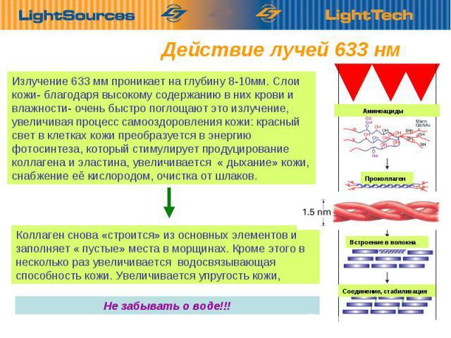 Действие лучей 633 нм Излучение 633 мм проникает на глубину 8-10мм. Слои кожи- благодаря высокому содержанию в них крови и влажности- очень быстро поглощают это излучение, увеличивая процесс самооздоровления кожи: красный свет в клетках кожи преобра…